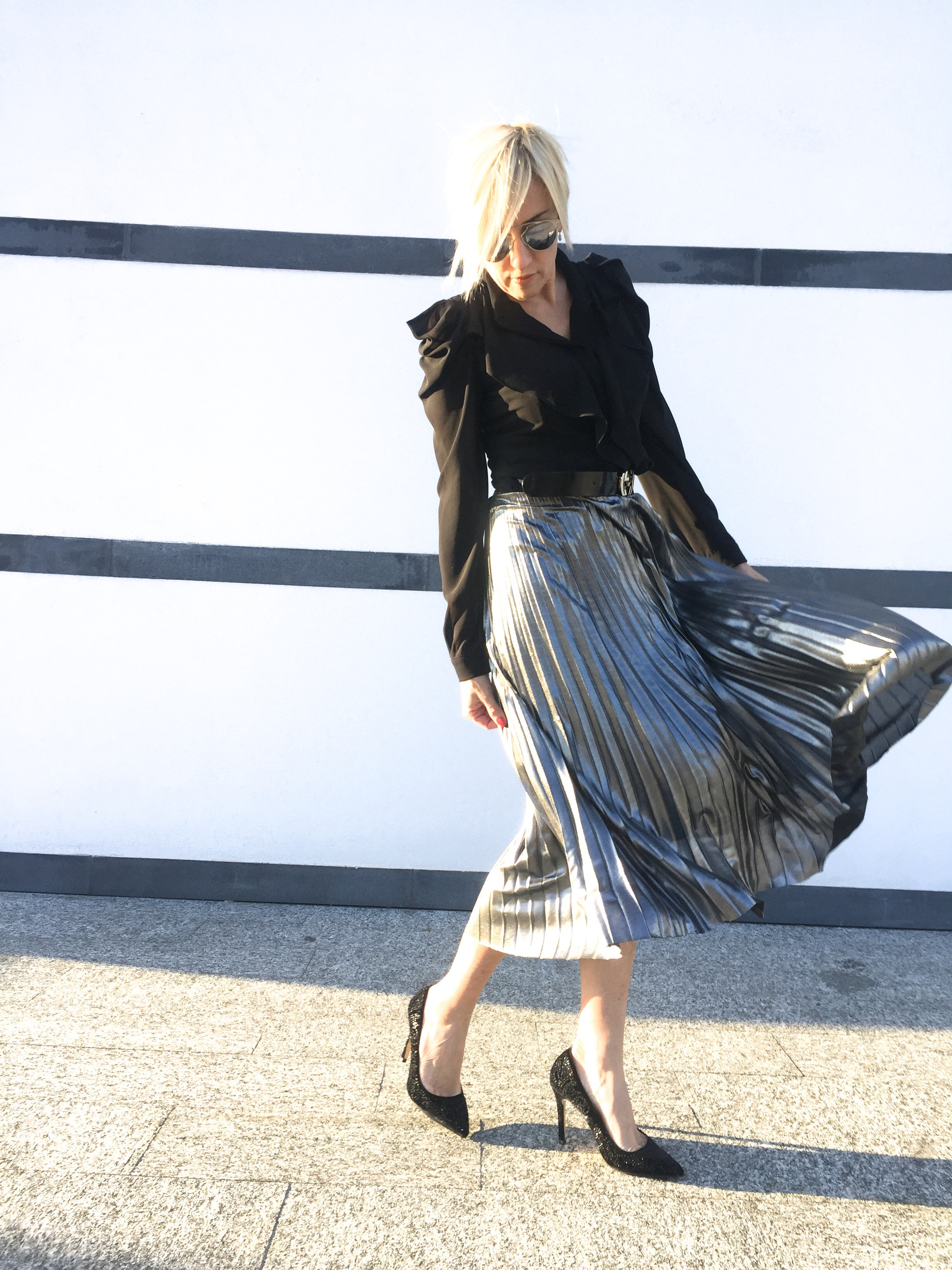 Silver pleated skirt sandro ferrone the mermaid fashion for Costumi nuoto boneswimmer