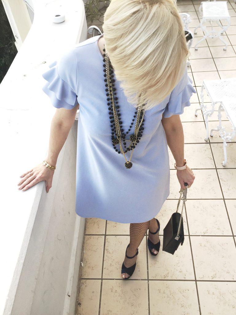 Flared Ruffle Dress & Velvet Sandals